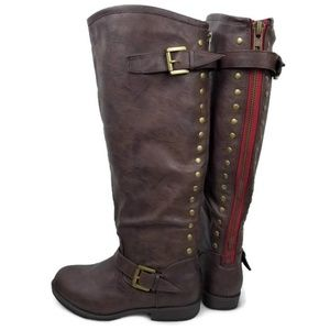 Journee Coll Womens Studded Knee High Riding Boots